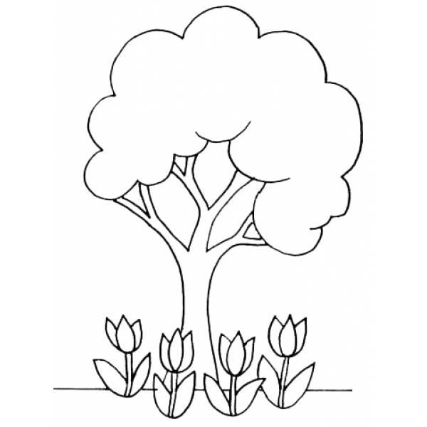 Disegno Di L Albero Con I Tulipani Da Colorare Per Bambini