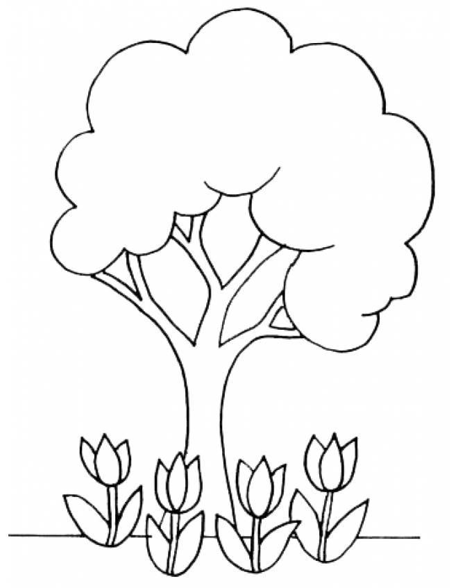 disegno di L'Albero con i Tulipani da colorare