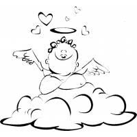 Disegno di Cupido sulle Nuvole da colorare