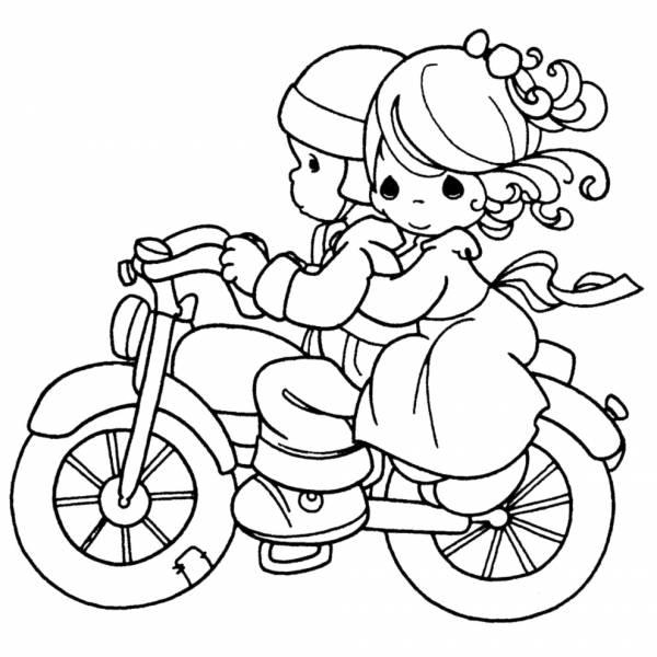 Disegno Di Bambini In Moto Da Colorare Per Bambini
