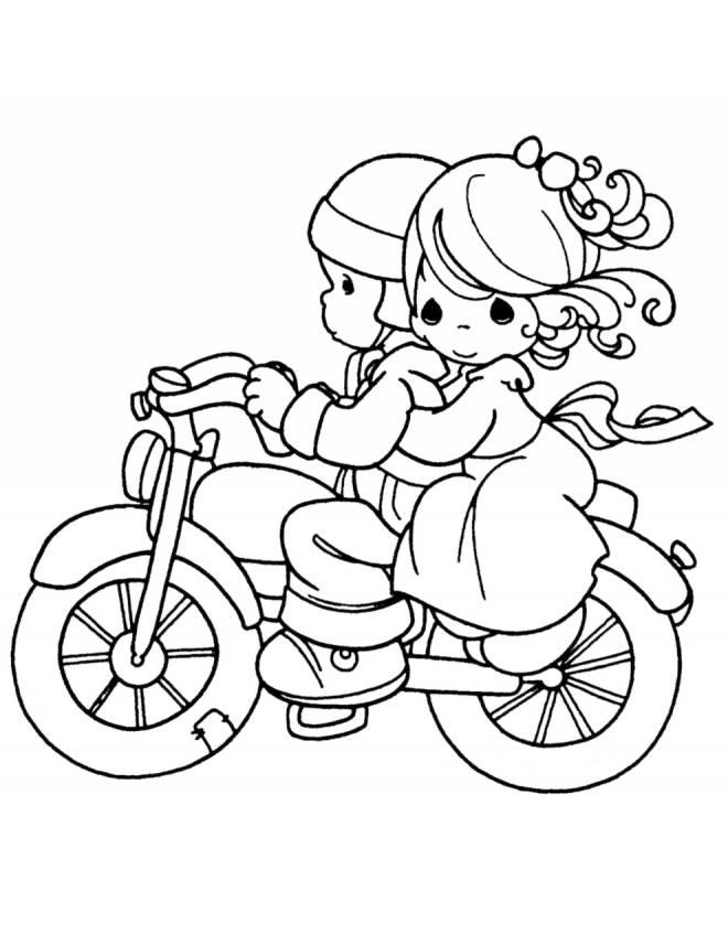 disegno di Bambini in Moto da colorare