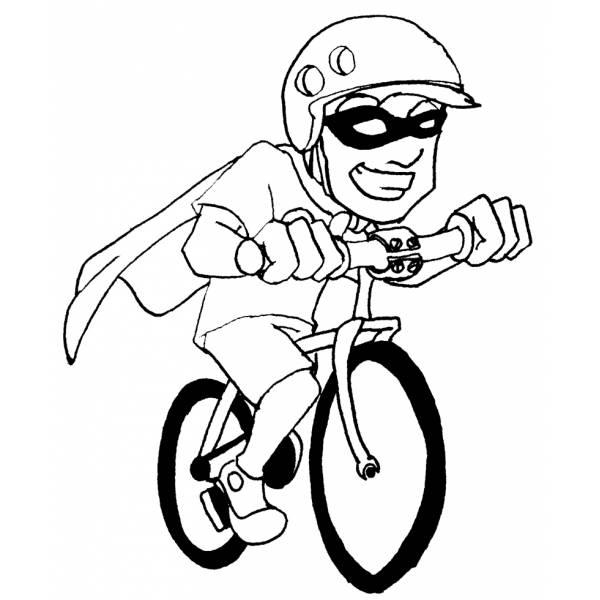 Disegno di supereroe in bicicletta da colorare per bambini for Disegni spiderman da colorare per bambini