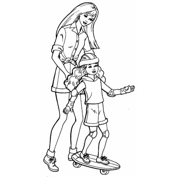 Disegno Di Barbie E Lo Skate Da Colorare Per Bambini