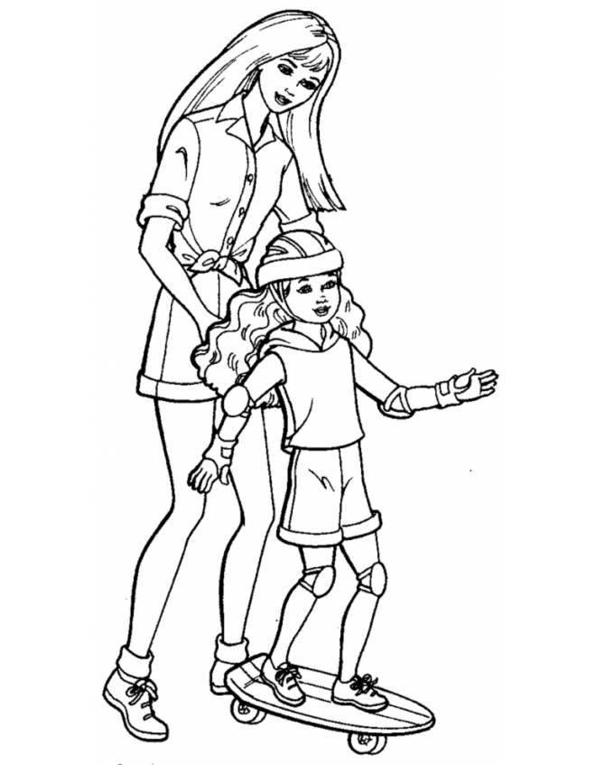 Disegno di barbie e lo skate da colorare per bambini for Disegno bambina da colorare