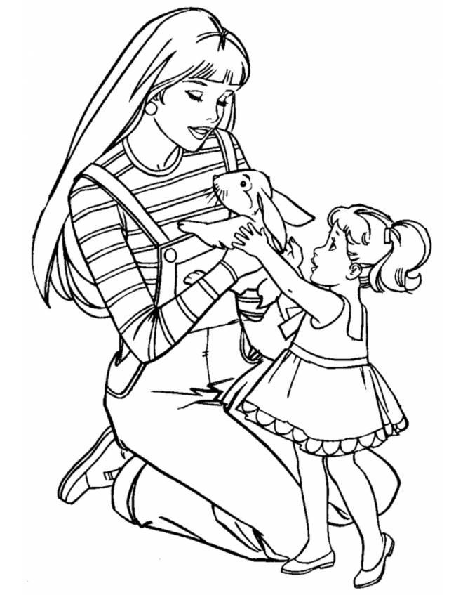 Disegno di barbie ed il coniglio da colorare per bambini for Coniglio disegno per bambini