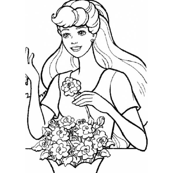 Disegno di Barbie ed i fiori da colorare