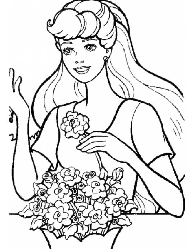 Disegno di barbie ed i fiori da colorare per bambini for Disegni da colorare barbie