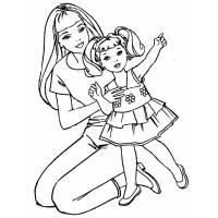 Disegno di Barbie e la Bambina da colorare