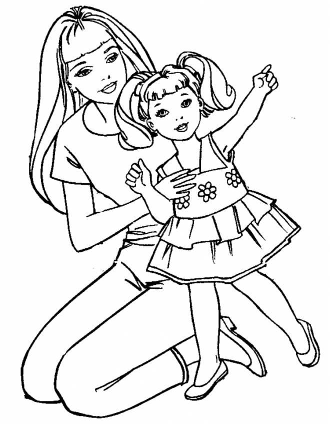 Stampa Disegno Di Barbie E La Bambina Da Colorare