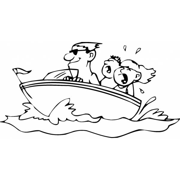Disegno di Barca con Bambini da colorare