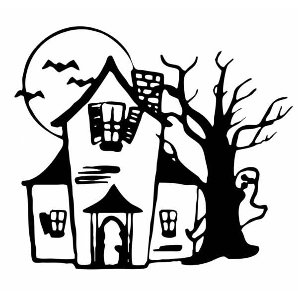 Disegno di casa con fantasmi da colorare per bambini - Disegni per casa ...