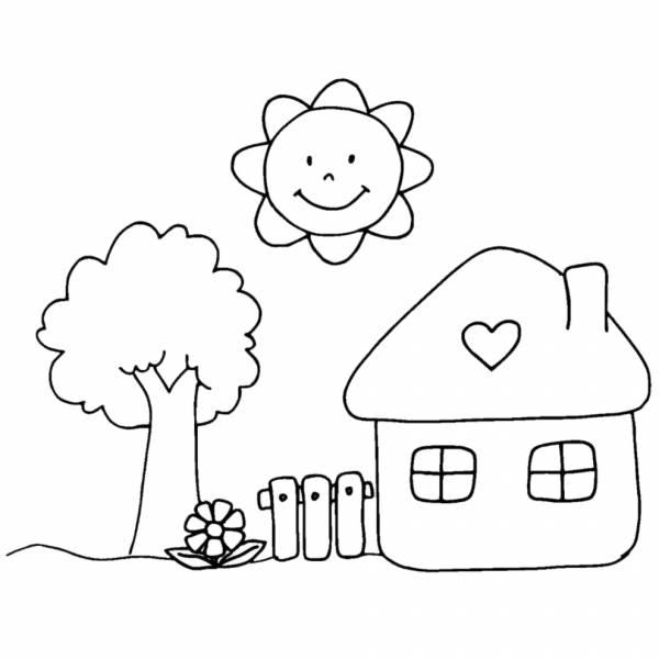 disegno di casetta in campagna da colorare per bambini
