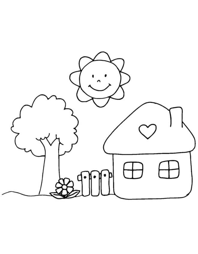 Disegno di casetta in campagna da colorare per bambini - Colorare la casa ...