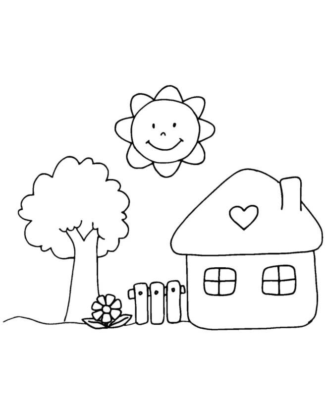 Stampa disegno di casetta in campagna da colorare for Disegni di case di tronchi