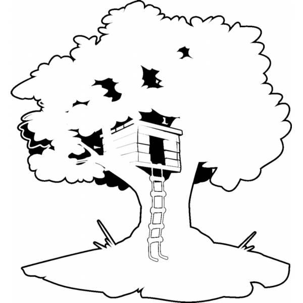 Disegno Di Casa Sull'Albero Da Colorare Per Bambini