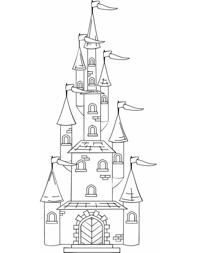 Disegno di il castello con le torri da colorare per for Disegni disney facili da disegnare