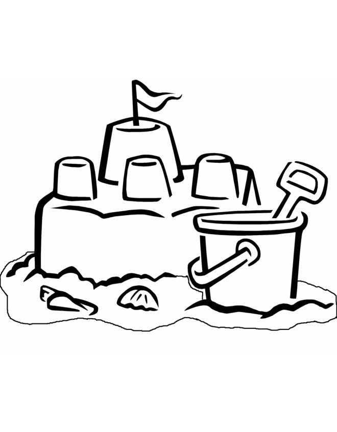 Stampa disegno di il castello di sabbia da colorare for Disegni casa castello