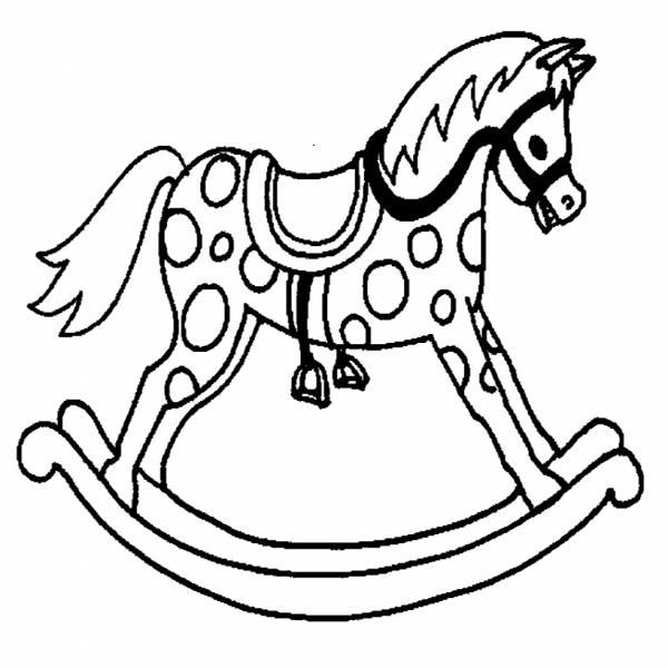 Disegno di cavallo a dondolo da colorare per bambini for Immagini di cavalli da disegnare