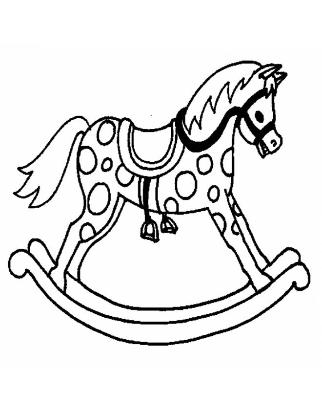 Disegno di cavallo a dondolo da colorare per bambini for Immagini di cavalli da stampare