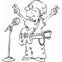Disegno di Cantante con Chitarra da colorare