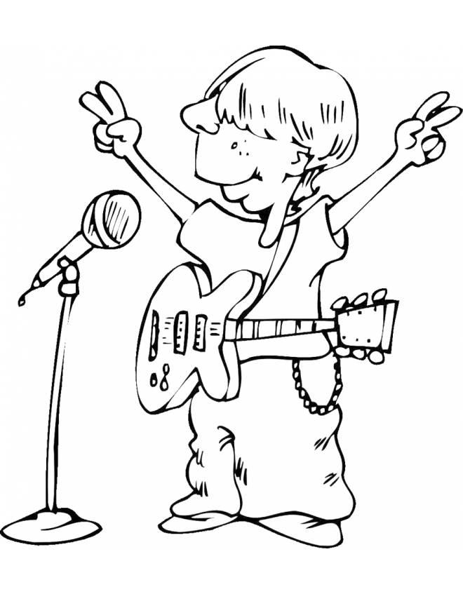 Disegno di cantante con chitarra da colorare per bambini - Pagina da colorare per chitarra ...
