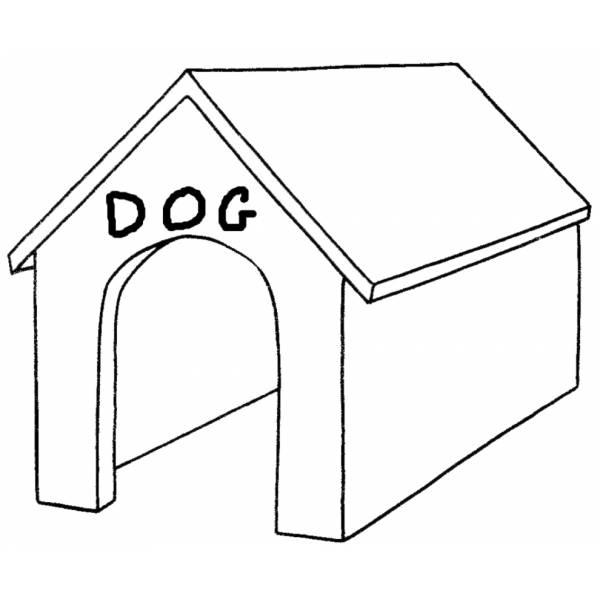 Disegno di cuccia del cane da colorare per bambini for Disegno gatto facile