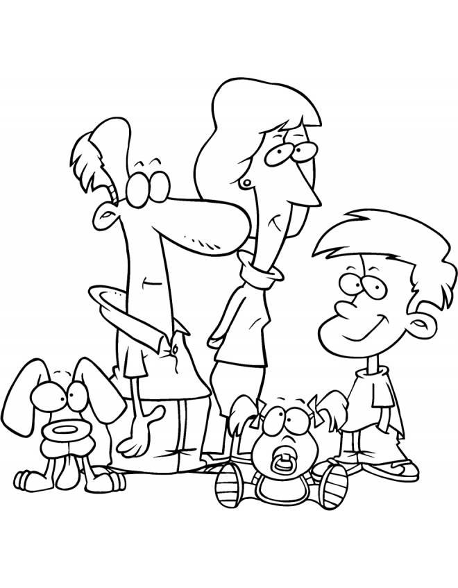 Disegno di la famiglia da colorare per bambini for Comodini per bambini online