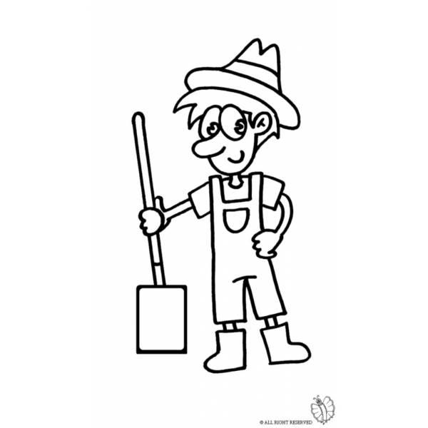 Disegno di agricoltore da colorare per bambini for Disegnare la planimetria online gratuitamente