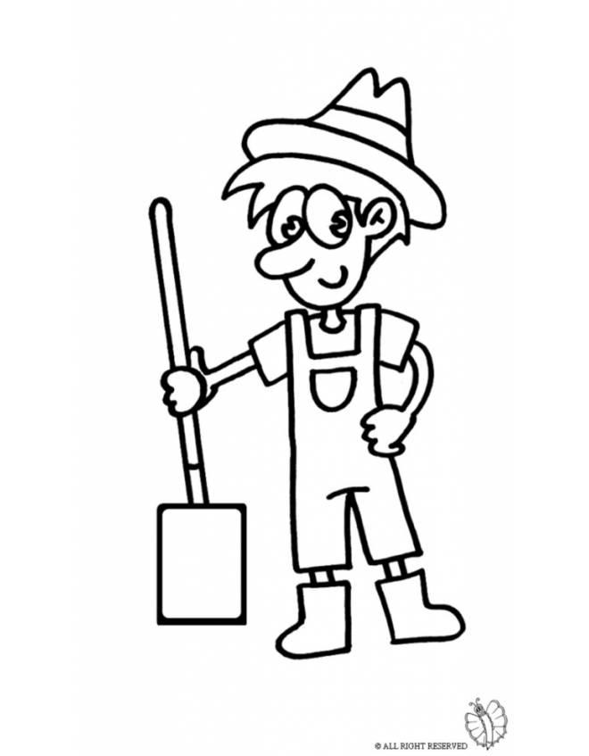 Disegno di agricoltore da colorare per bambini for Disegni paesaggi da colorare