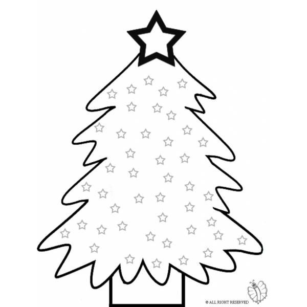 Disegno di albero con stelle da colorare per bambini for Stelle da stampare