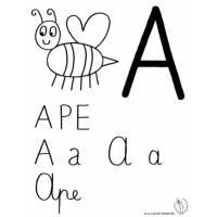 disegno di Lettera A di Ape da colorare