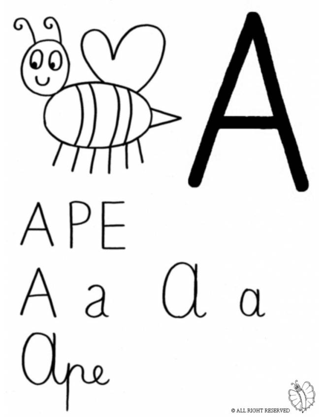 Disegno di lettera a ape da colorare per bambini