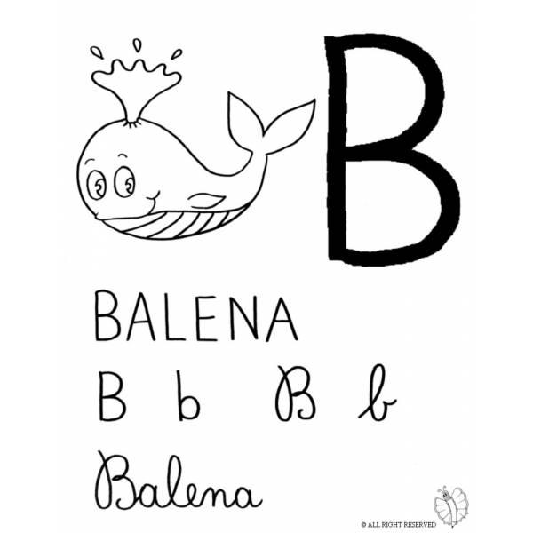 Disegno Di Lettera B Di Balena Da Colorare Per Bambini