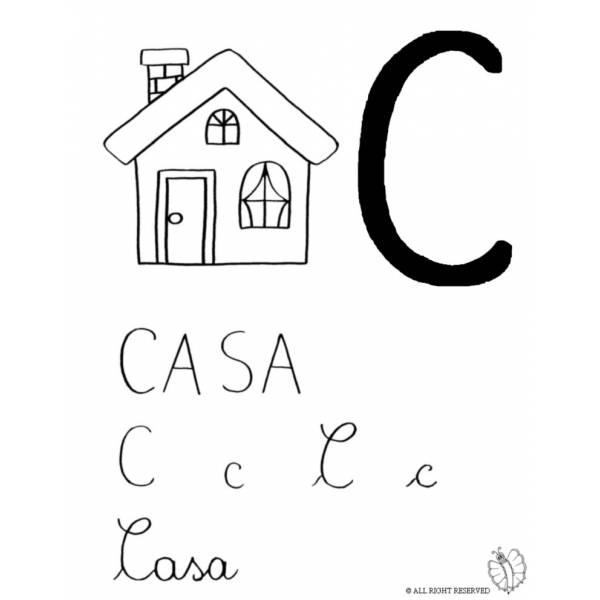 Disegno di Lettera C di Casa da colorare