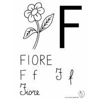 disegno di Lettera F di Fiore da colorare