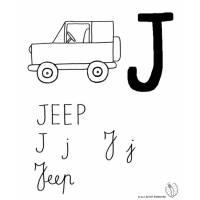 disegno di Lettera J di Jeep da colorare