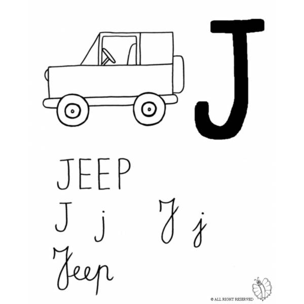 Disegno di lettera j di jeep da colorare per bambini for Jeep da colorare