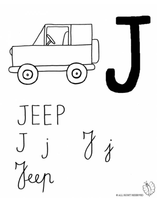 Stampa Disegno Di Lettera J Di Jeep Da Colorare