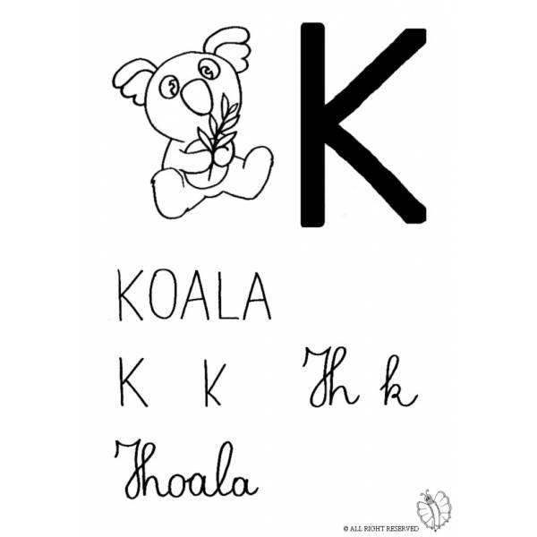 Disegno di Lettera K di Koala da colorare