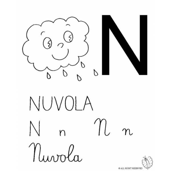 Disegno di Lettera N di Nuvola da colorare