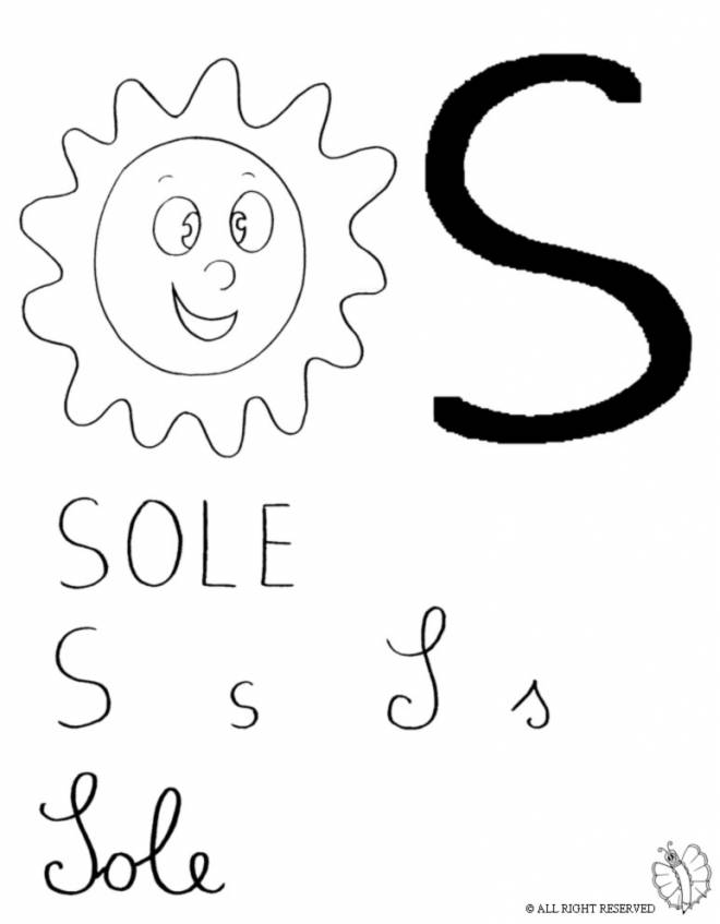 Disegno di lettera s di sole da colorare per bambini for Sole disegno da colorare