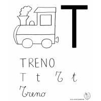 disegno di Lettera T di Treno da colorare