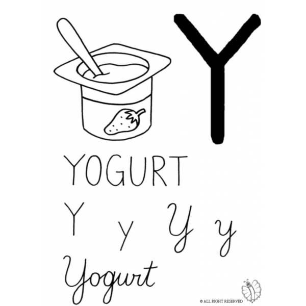 Disegno di Lettera Y di Yogurt da colorare