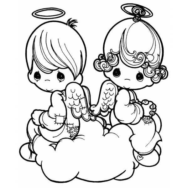 Disegno Di Angioletti Sulla Nuvola Da Colorare Per Bambini