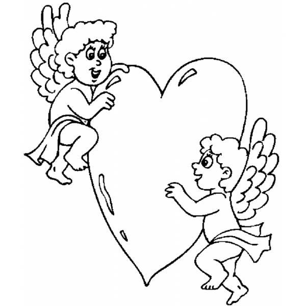 Disegno di angeli con cuore da colorare per bambini for Immagini angeli da colorare