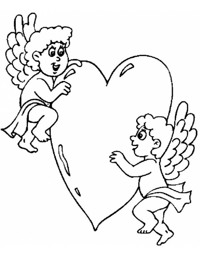 disegno di Angeli con Cuore da colorare