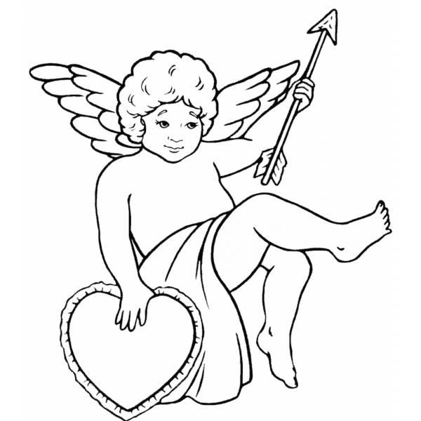 Disegno Di Angelo Con Cuore Da Colorare Per Bambini