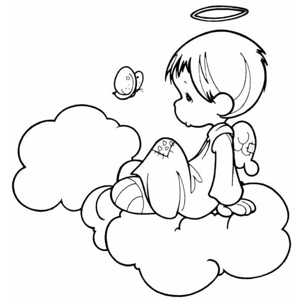 Disegno Di Angioletto Sulle Nuvole Da Colorare Per Bambini