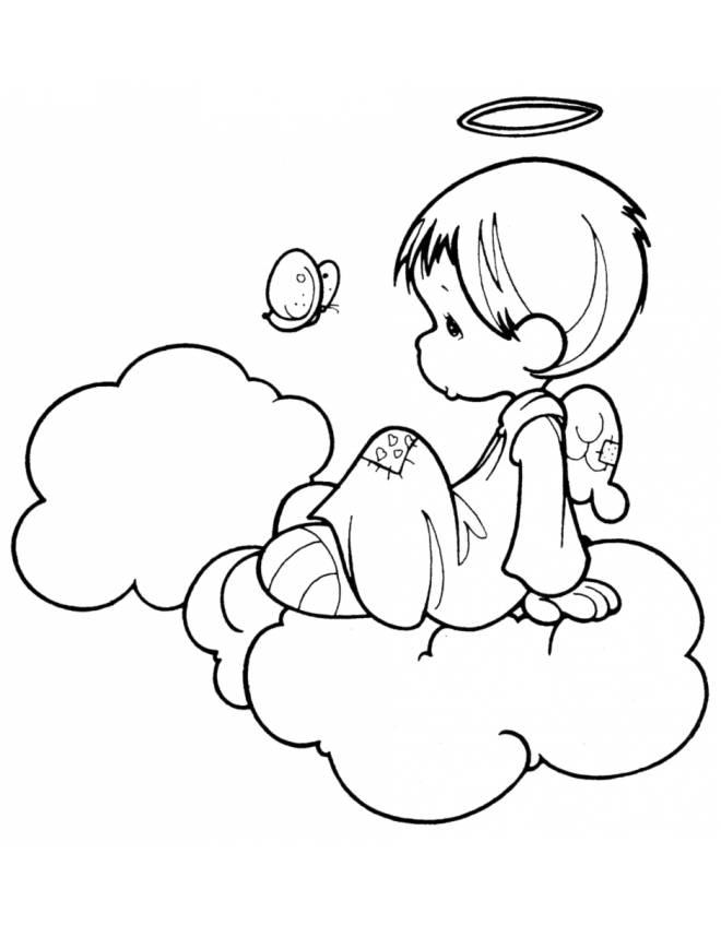 Disegno di angioletto sulle nuvole da colorare per bambini for Disegni da colorare angeli