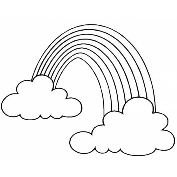 Disegno di Arcobaleno e Nuvole da colorare